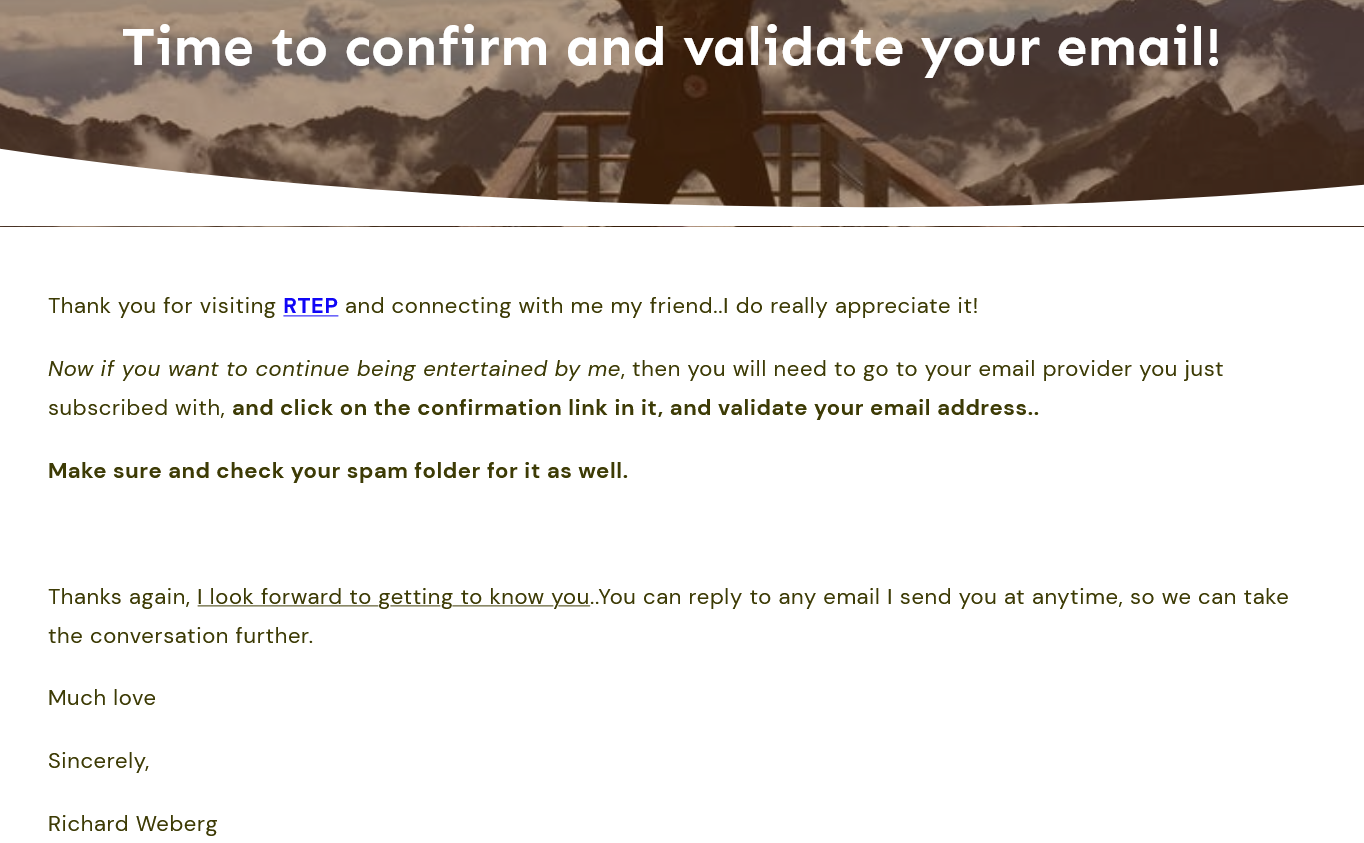 email marketing confirmation page example