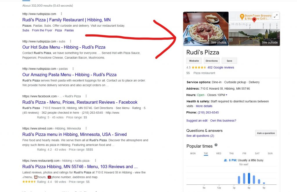 Google My Business - what it looks like in the search results