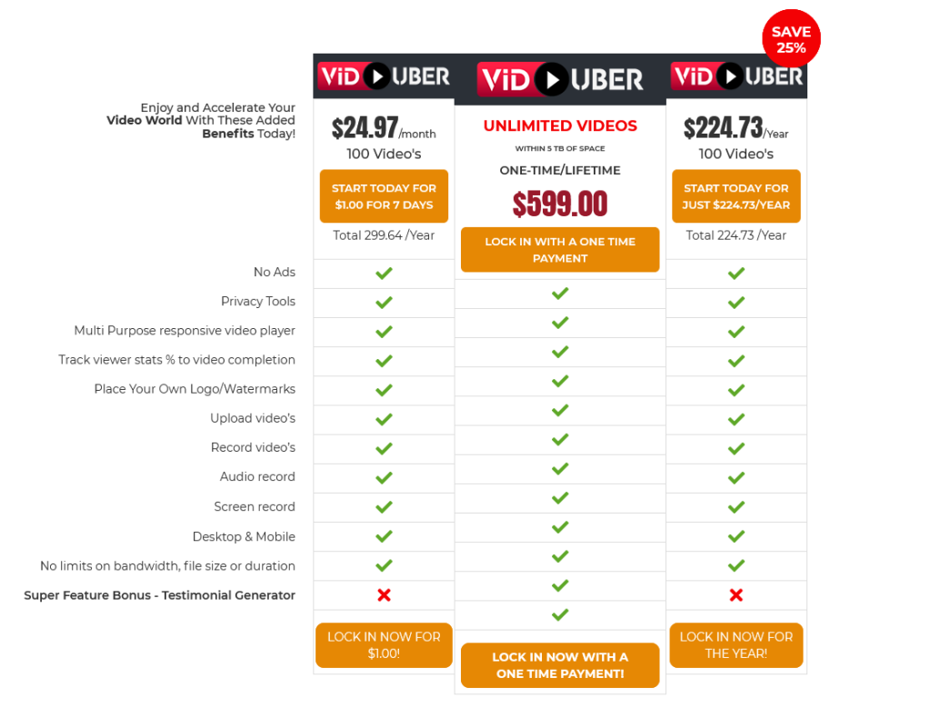 Viduber video hosting pricing for all packages